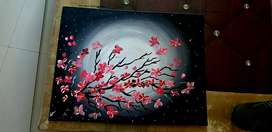Canvas pink flower painting