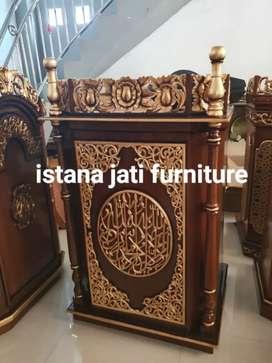 Mimbar masjid khutbah masjid bahan material kayu jati tua