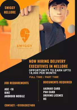 Urgently Required Delivery Excutives In Nellore Earn Upto 18000to25000