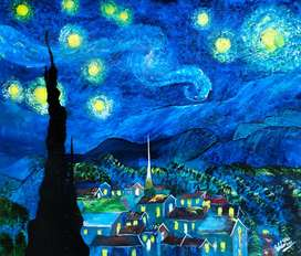 """Acrylic Painting wall frame """" Starry Night """""""