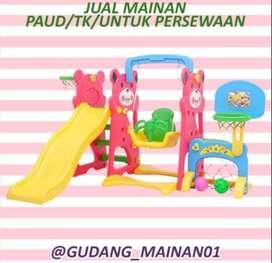mainan playground anak gawang, ring basket, ayunan, perosotan murah