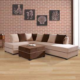 Apollo L-Shape Fabric Sofa Left With Pouf - Light Brown/Dark Brown