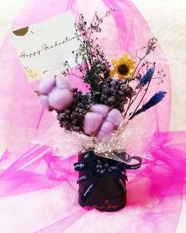 Bunga kering bloom box mini mewah