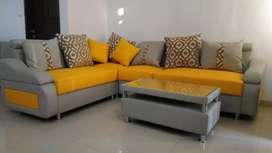 Sofa L Pojok Minimalis +Meja Tamu Kredit, Tukar Tambah /Terima Service