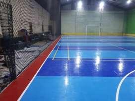 Pembuatan lapangan futsal lantai interlock vinil rumput