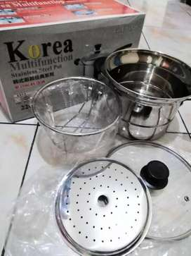 Deep Fryer 22 cm Multifungsi pot 3 in 1 (Stainless)