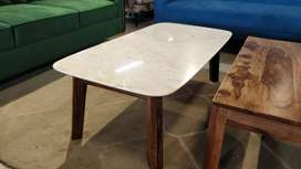 Galatea Marble Coffee Table In Teak Finish