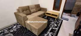 sofa tamu L puff , bantal besar dg Meja multiplek
