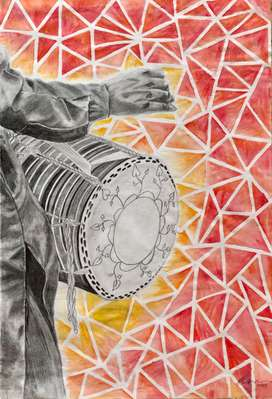 Dhol Painting For Home Decor