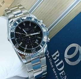jam tangan bidden original watch 3 chrono mode on silver black limited