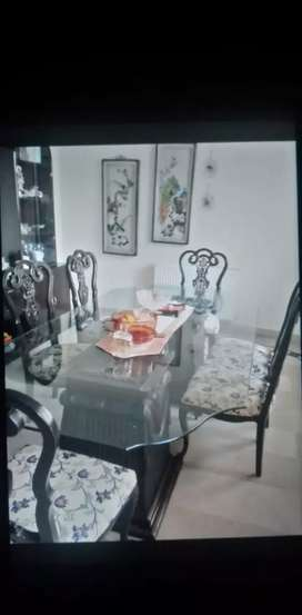 Dining Table with Six Chairs (Price Negotiable)