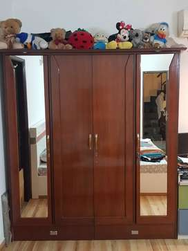 Wardrobe wooden with glass front