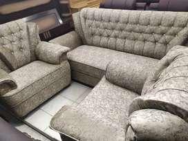 ELEGANT Lexas Fabric 5 Seater 3+1+1 Sofa Set (Light Grey)