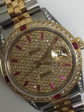Rolex Men Full Diamonds Ruby 18KSS