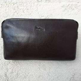 Tas import eks JAGUAR clutch/tas tangan kulit asli tebal keren coklat