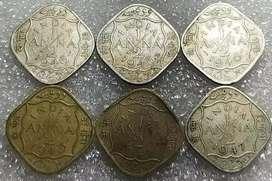 India british 1/2 anna  6 coins 2 metal 1943 1947