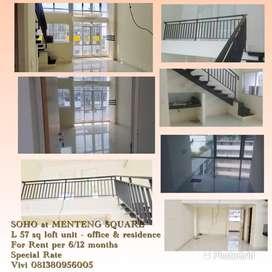 Soho Menteng Square 57 m loft unit sewa tahunan 46 jt terluas