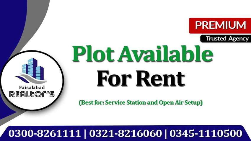 1 Kanal Plot on Rent For Service Station & Open air Setup at Canal Rd 0
