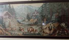 Beautiful village painting frame available