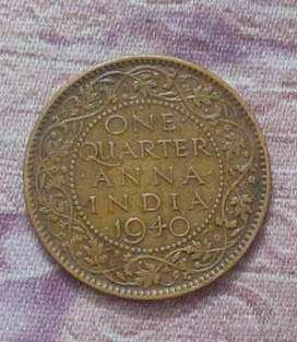 Quarter anna coins