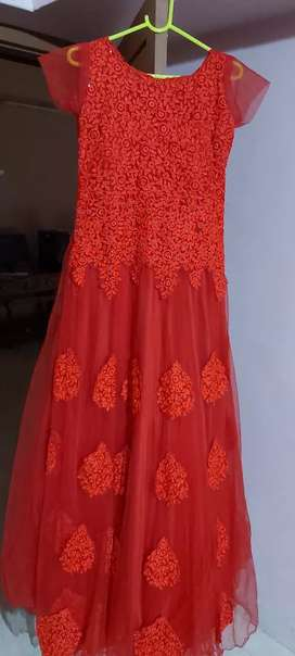 Red gown. Bridal designer red gown. Wedding wear. Gown fabric net