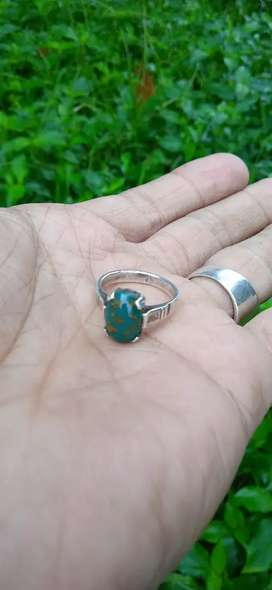 Batu pirus daun ring perak