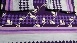 Doublebed Purple bedsheet in glace cotton with pillow cover