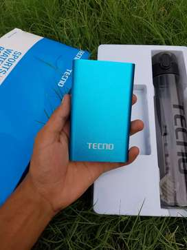 TECNO Power Bank And Water Bottle BoX New