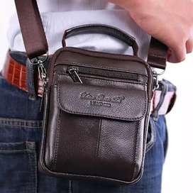 Tas Selempang Vintage Bahan Kulit Asli untuk Pria