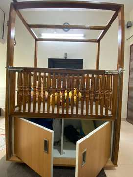 TeakWood Baby cot /bed with matress and storage