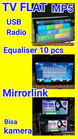 TV mobil doubledin tape Mp5 + mirrorlink + bs kamera Layar Datar tape