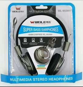 Headset Handsfree Bando  Gaming Weile + Mic + 2 Kabel buat PC dan Hp