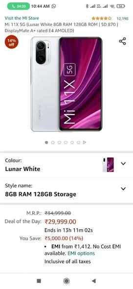 Mi 11x 8 GB RAM 128 GB 8/1288 peti pack sealed lunar white