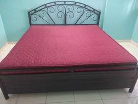Moving out sale - Iron double bed 6X6  size with storage and mattress