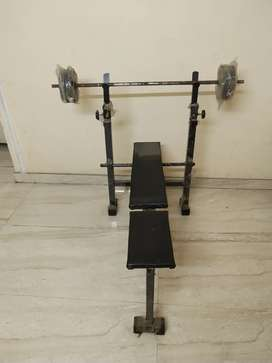 Gym bench with rod n plates
