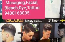 Facial, masaging _ full body(M to M),dye,bleach,coloring,Henna,makeUp,