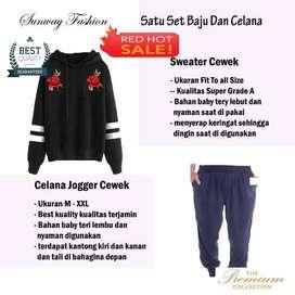 AM00628 Celana Setelan Satu set Sweater cewek dan celana joger