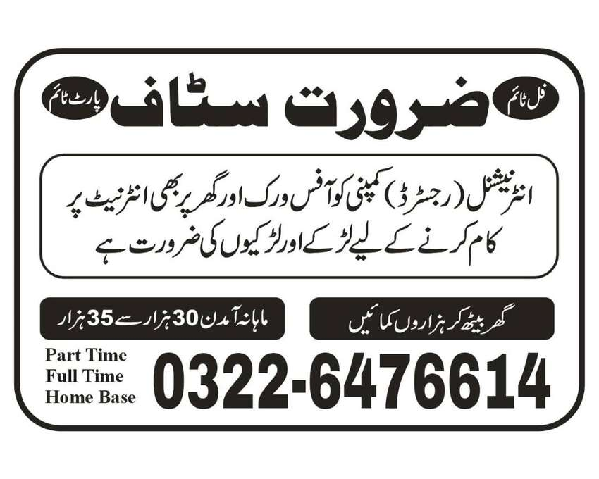 Office Base Work Lahore Females Staff Required