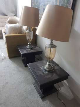 Brown leather sofa set with center table