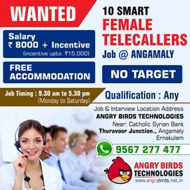 Vacancy for 10 Female Telecallers with FREEE Accomodation in Angamaly