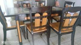 6 Seater Solid Wood Dining Table Set