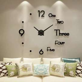 3D Acrylic Family Wall Clock With Sticker - Black 28 Inches