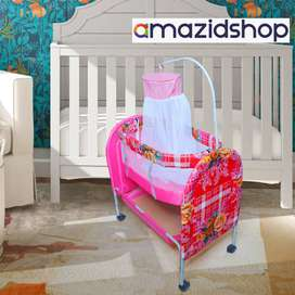 Baby cot with Swing In Metal Frame bed & Cradle With Stand