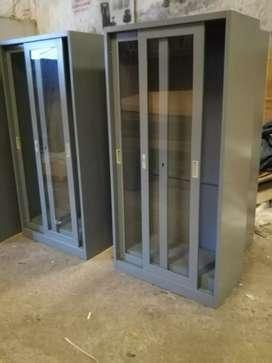 lemari Arsip Besi| lemari Besi pintu sliding kaca merk Espana| Abu-Abu