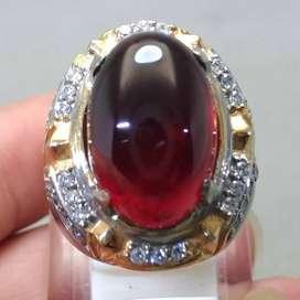 Cincin Batu Akik Merah Garnet Ceylon Asli