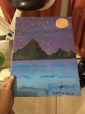 Gambar pemandangan gunung malam