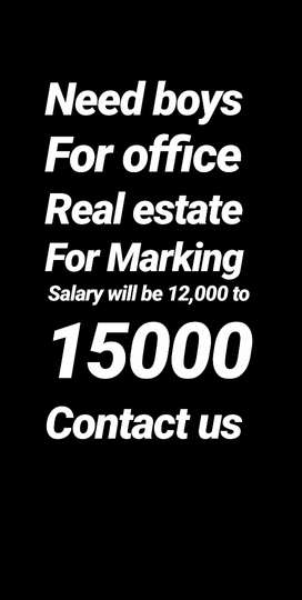 Need Mature boys for Real estate Good salary