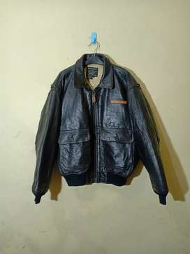 Vintage avirex type G-1 us navy leather jacket jaket kulit army
