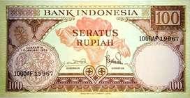 uang kertas kuno 100 rupia th 1959