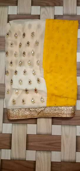 Sarees yellow and white colour combination